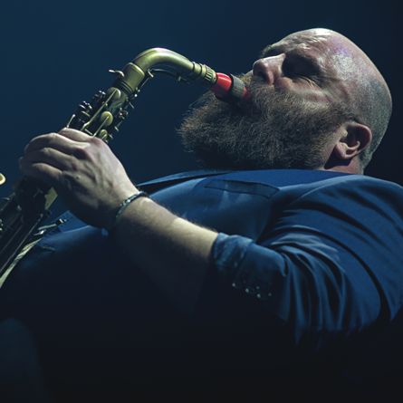 Thomas de Pourquery with his Syos saxophone mouthpiece