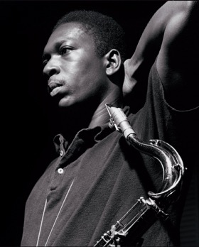 Jazz saxophonist John Coltrane and his tenor mouthpiece