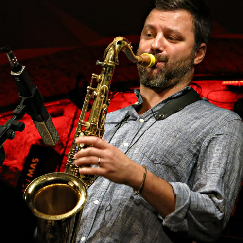 Jure Pukl with his Syos saxophone mouthpiece