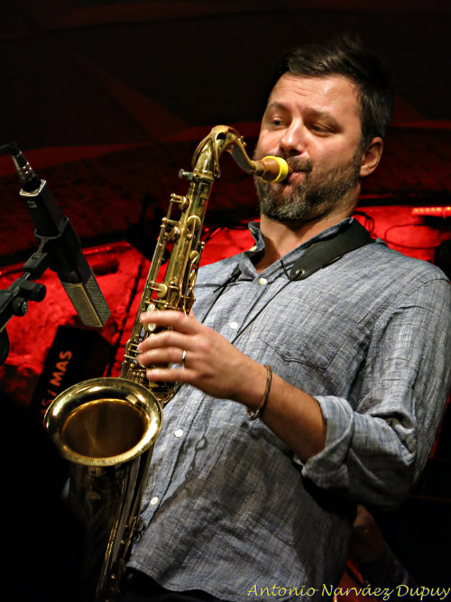 Saxophonist Jure Pukl and his chocolate Syos tenor saxophone mouthpiece