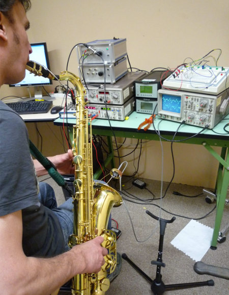 science experiment on saxophone