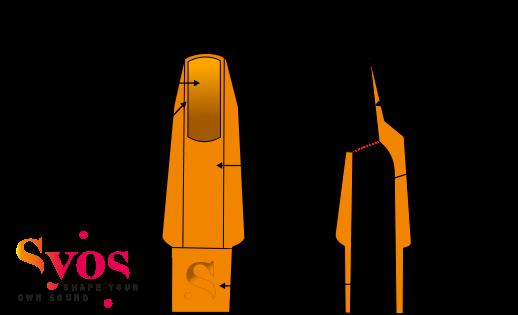 anatomie détaillée d'un bec de saxophone