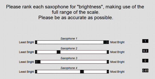 Ratings of the saxophones on a brightness scale