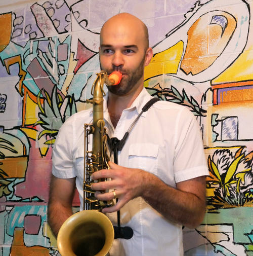 Jason Moore with his Syos saxophone mouthpiece