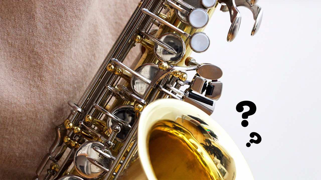 saxophone plays, question mark