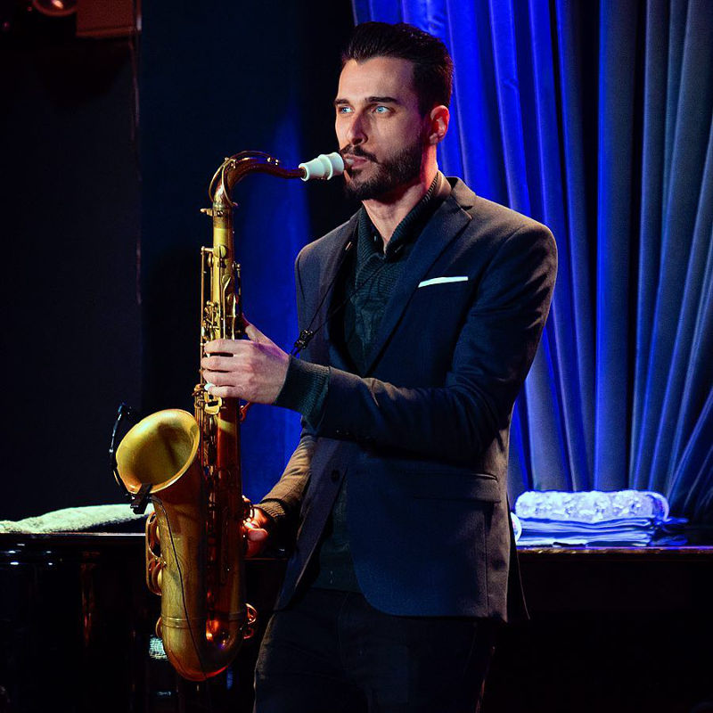 The saxophonist Chad Lefkowitz-Brown plays a Syos tenor saxophone mouthpiece