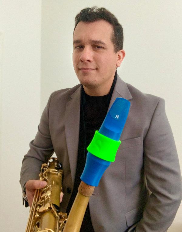 Francisco Quintero plays a Syos tenor saxophone mouthpiece