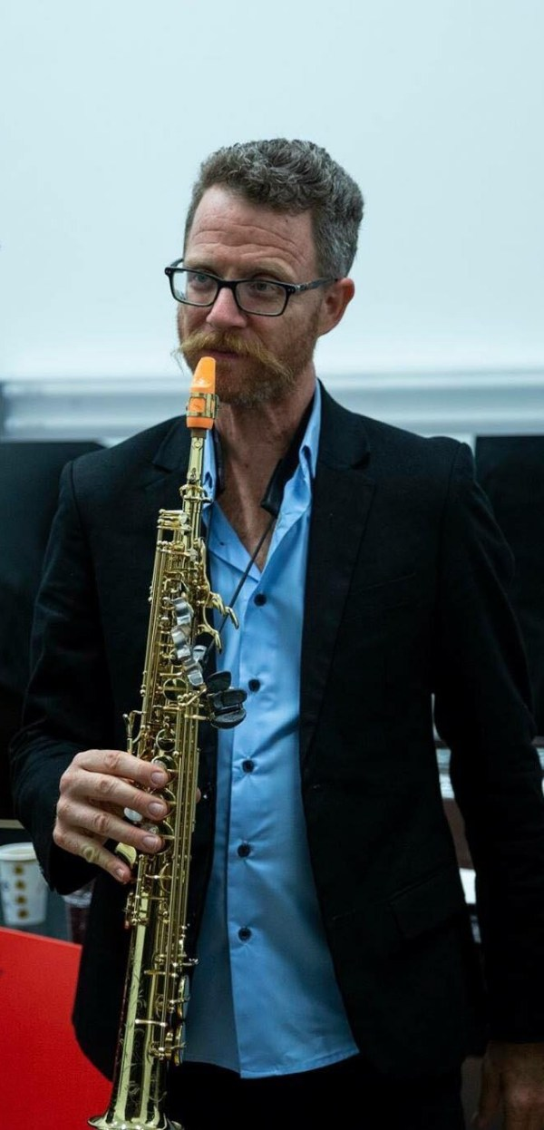 The saxophonist Yuval Cohen plays a Syos soprano saxophone mouthpiece