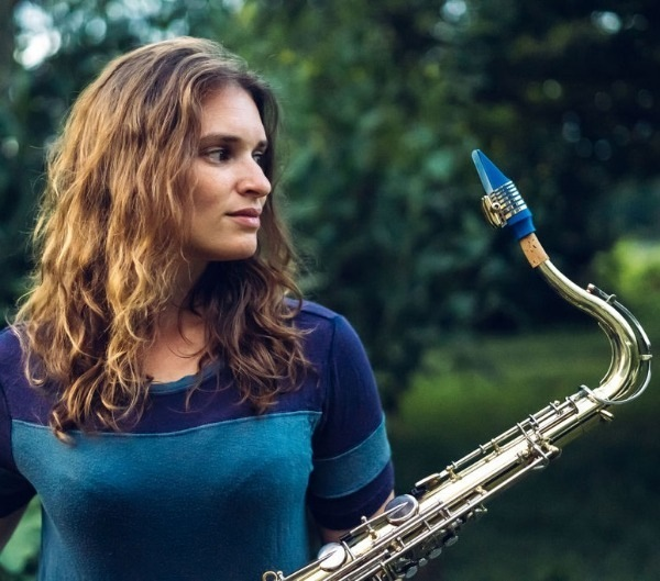 Gina Sobel plays a Syos tenor saxophone mouthpiece