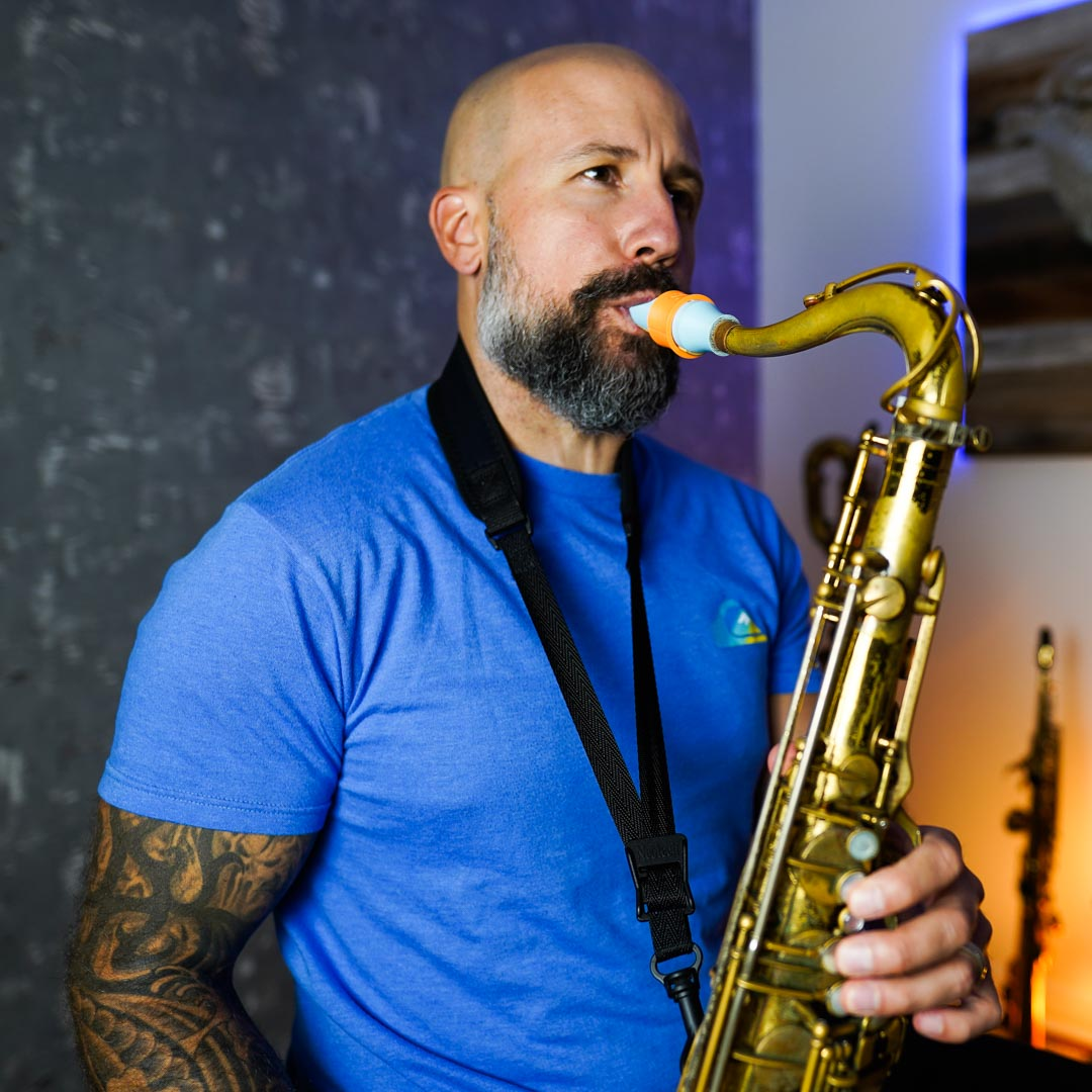 Yanick Coderre plays a Syos mouthpiece for tenor and alto saxophone