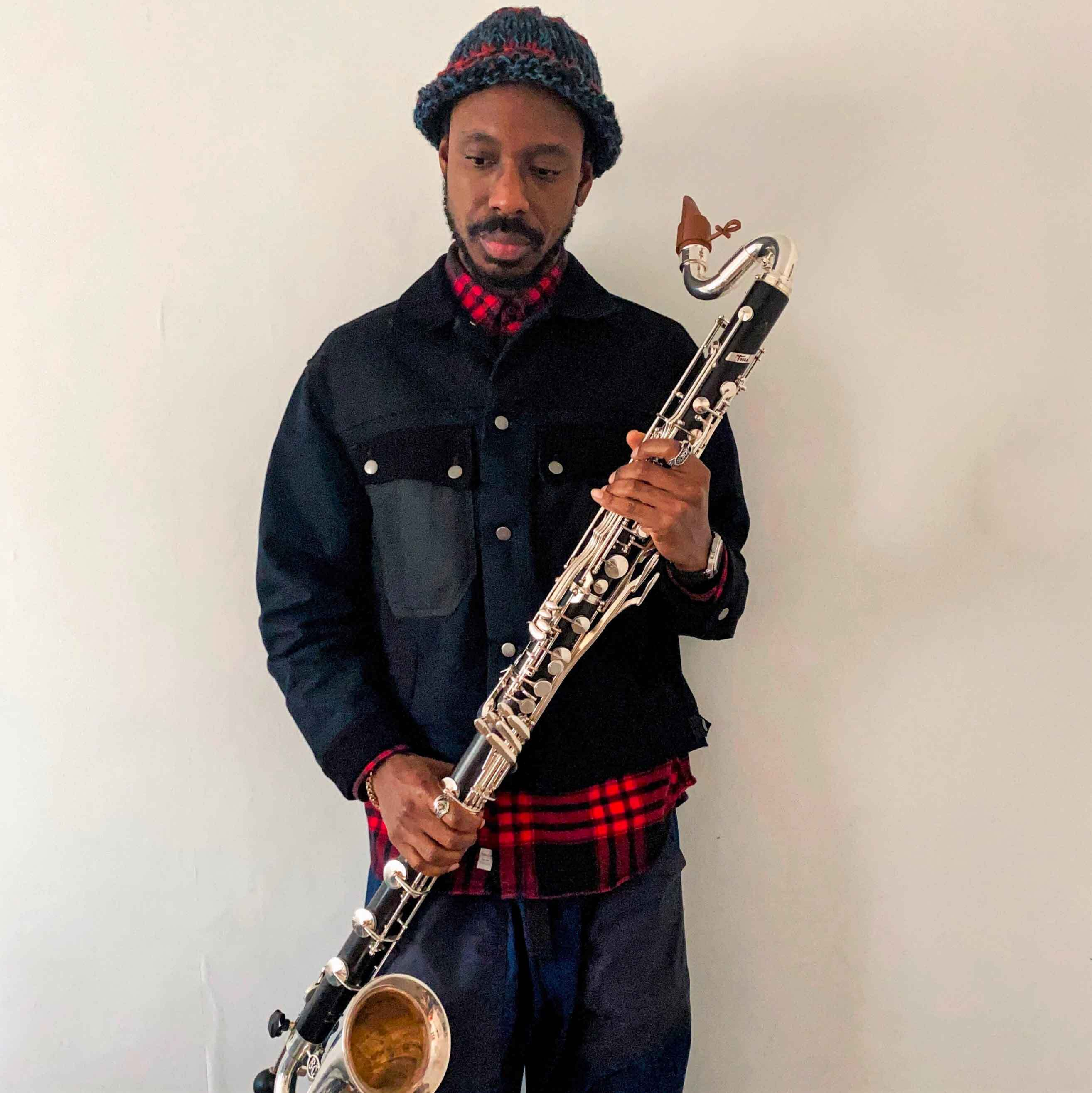 Shabaka Hutchings plays a Syos mouthpiece for bass clarinet