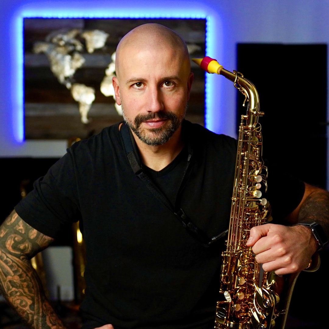 Yanick Coderre plays a Syos mouthpiece on alto saxophone