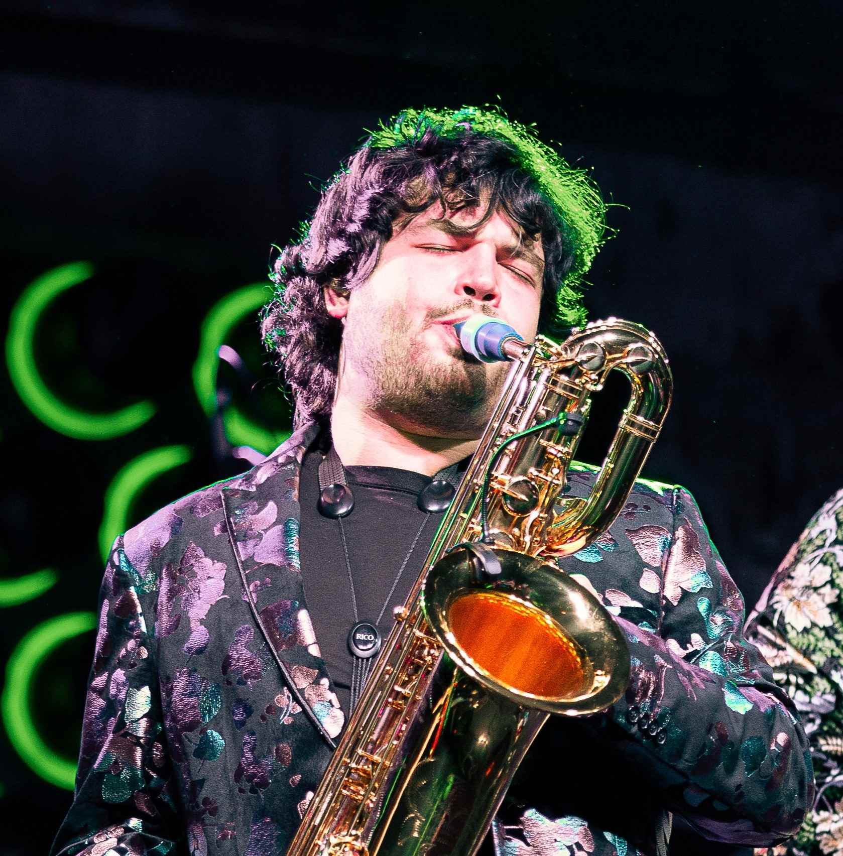 Adrian Condis plays a Syos mouthpiece on baritone saxophone